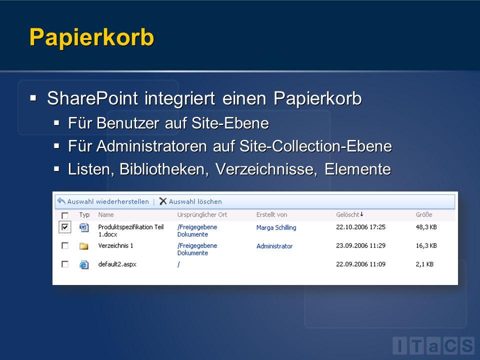 Papierkorb SharePoint integriert einen Papierkorb