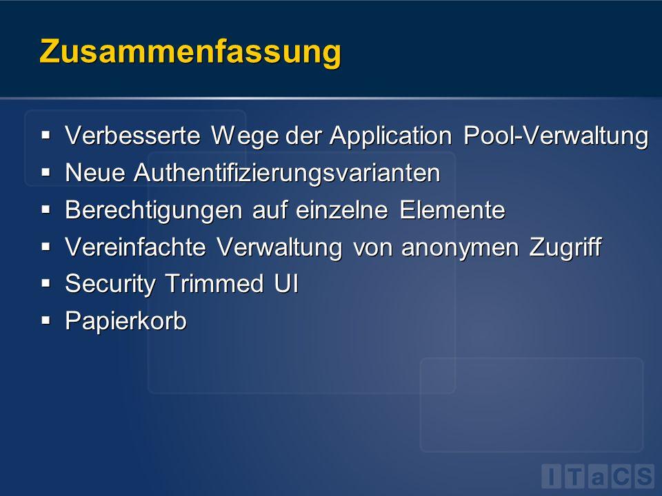 Zusammenfassung Verbesserte Wege der Application Pool-Verwaltung
