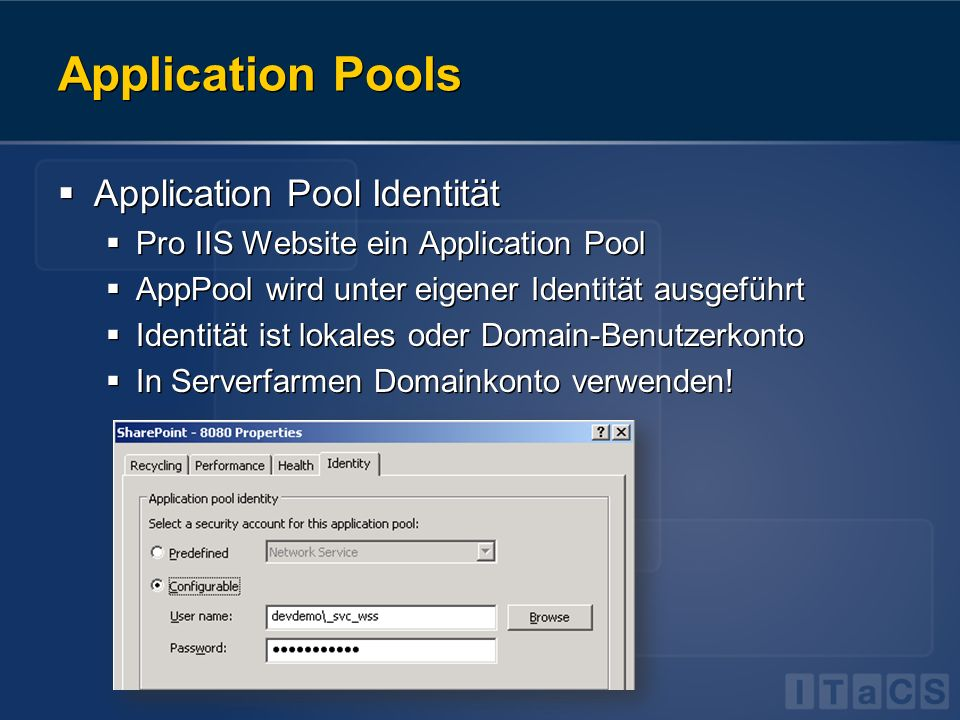 Application Pools Application Pool Identität