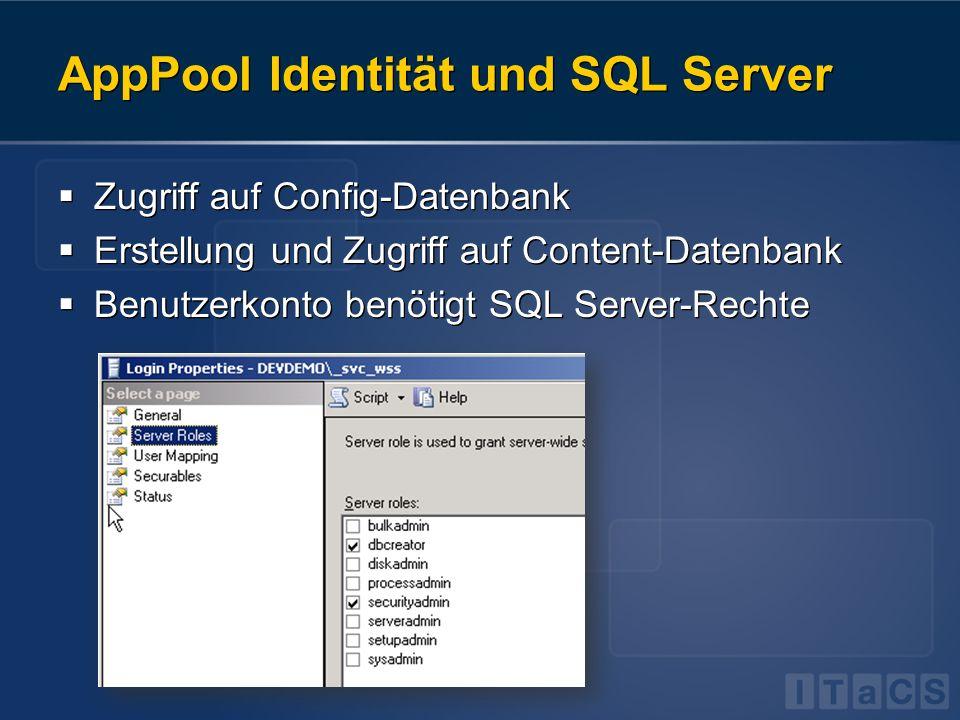 AppPool Identität und SQL Server