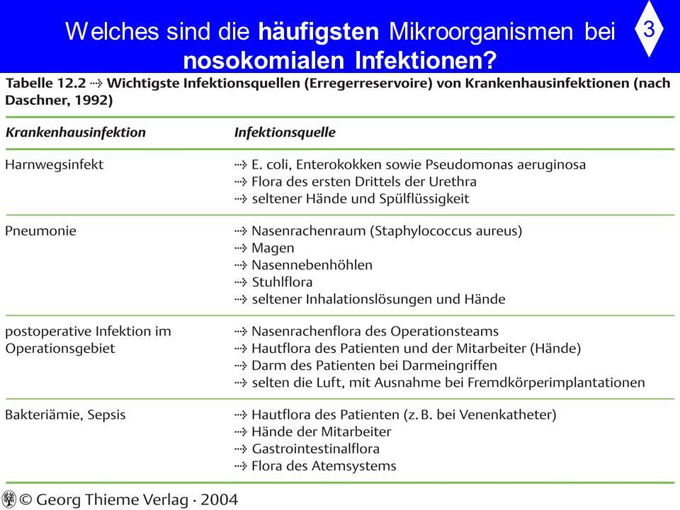 Welches sind die häufigsten Mikroorganismen bei nosokomialen Infektionen