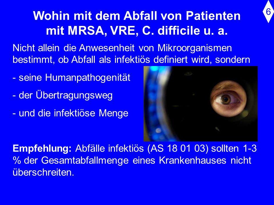Wohin mit dem Abfall von Patienten mit MRSA, VRE, C. difficile u. a.