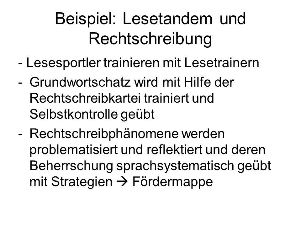 Beispiel: Lesetandem und Rechtschreibung