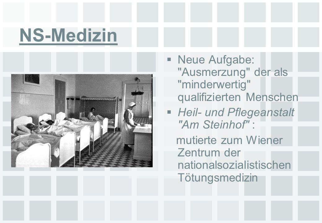 NS-Medizin Neue Aufgabe: Ausmerzung der als minderwertig qualifizierten Menschen. Heil- und Pflegeanstalt Am Steinhof :
