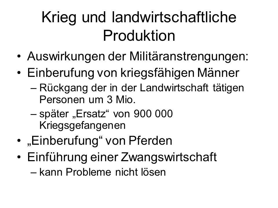 Krieg und landwirtschaftliche Produktion