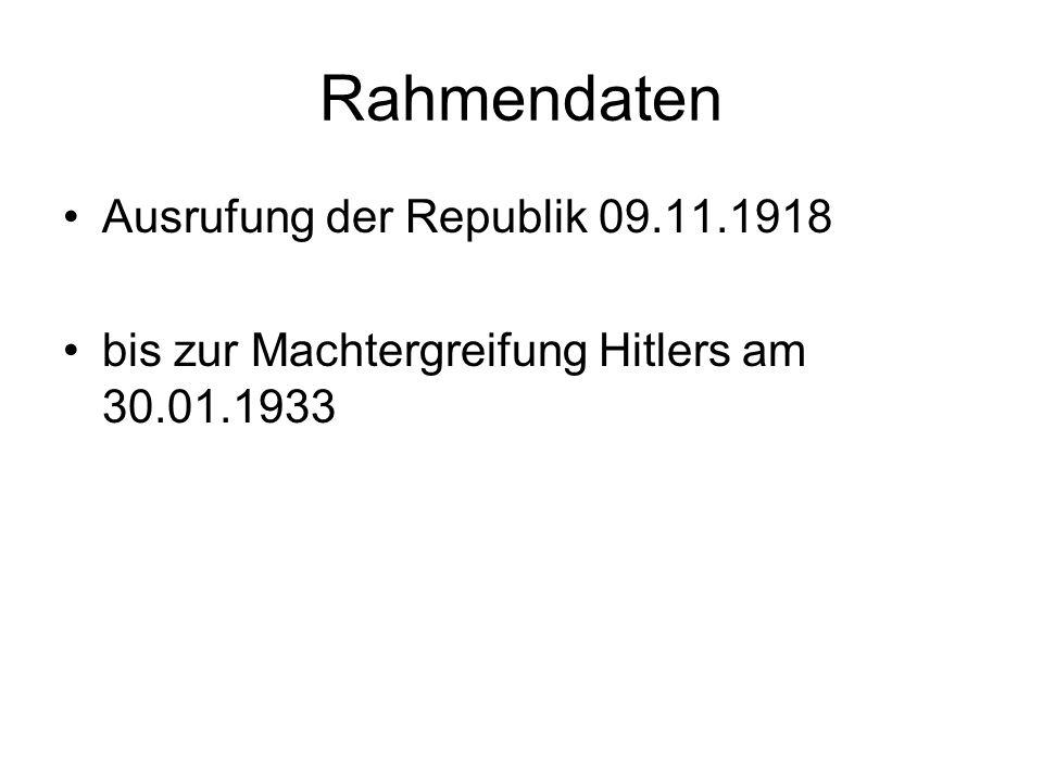 Rahmendaten Ausrufung der Republik 09.11.1918
