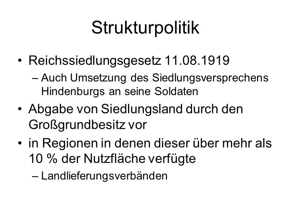 Strukturpolitik Reichssiedlungsgesetz 11.08.1919