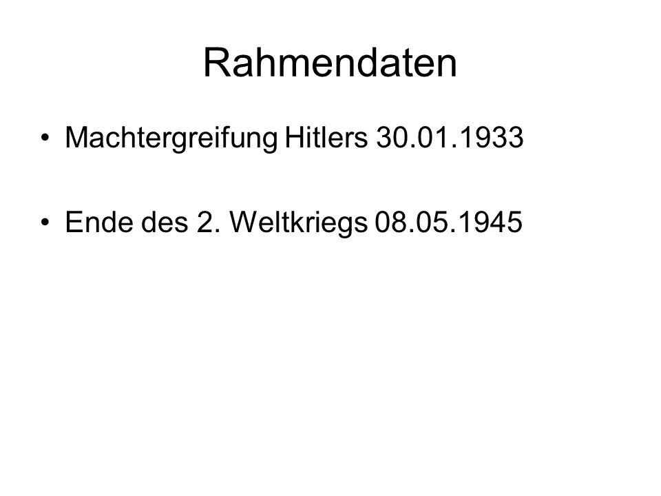 Rahmendaten Machtergreifung Hitlers 30.01.1933
