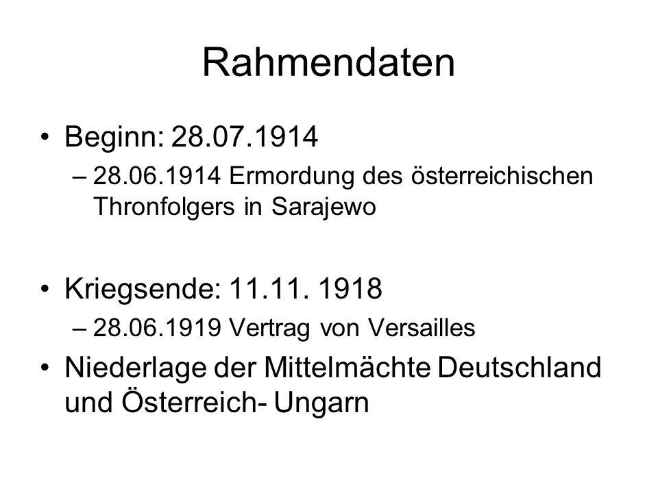 Rahmendaten Beginn: 28.07.1914 Kriegsende: 11.11. 1918