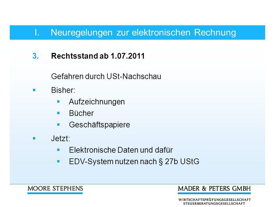 I. Neuregelungen zur elektronischen Rechnung