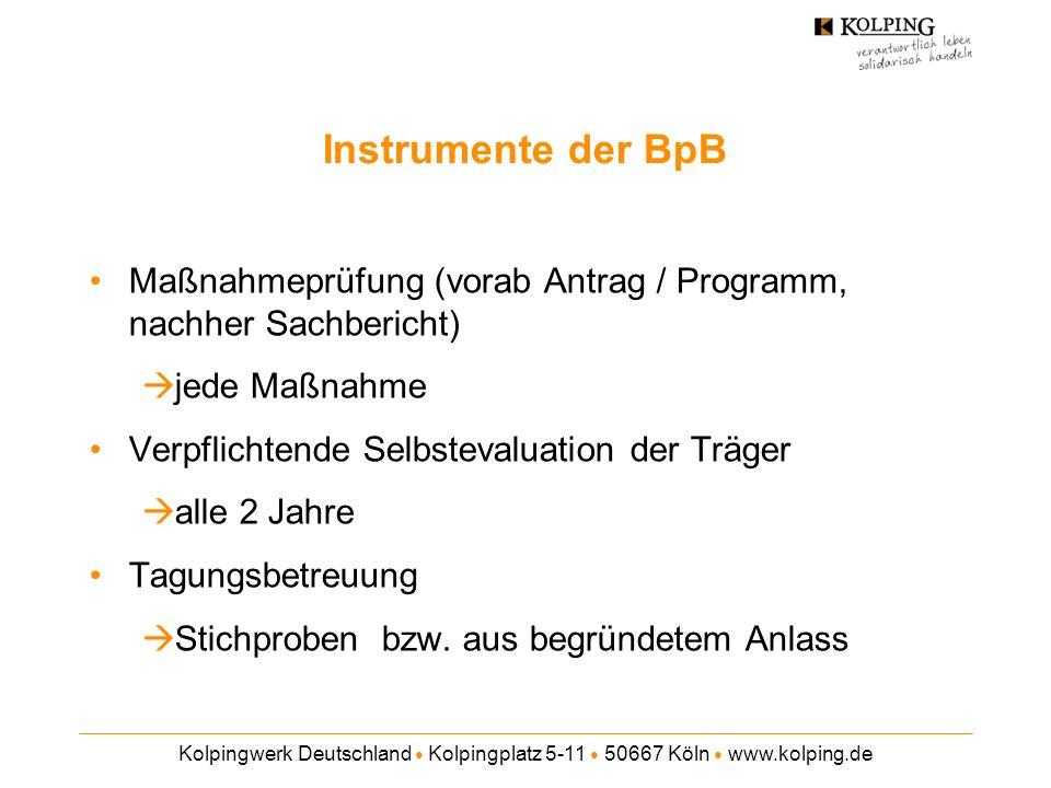 Instrumente der BpB Maßnahmeprüfung (vorab Antrag / Programm, nachher Sachbericht) jede Maßnahme. Verpflichtende Selbstevaluation der Träger.
