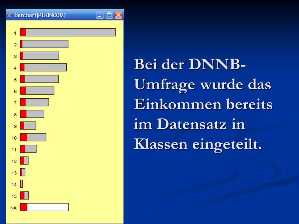 Bei der DNNB-Umfrage wurde das Einkommen bereits im Datensatz in Klassen eingeteilt.