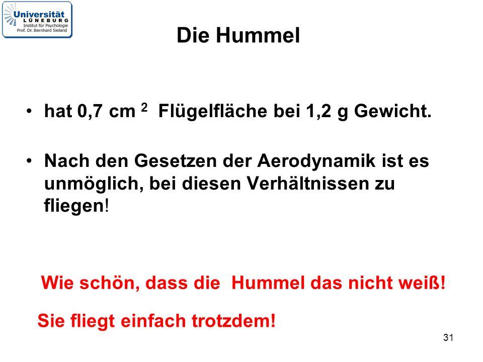 Die Hummel hat 0,7 cm 2 Flügelfläche bei 1,2 g Gewicht.