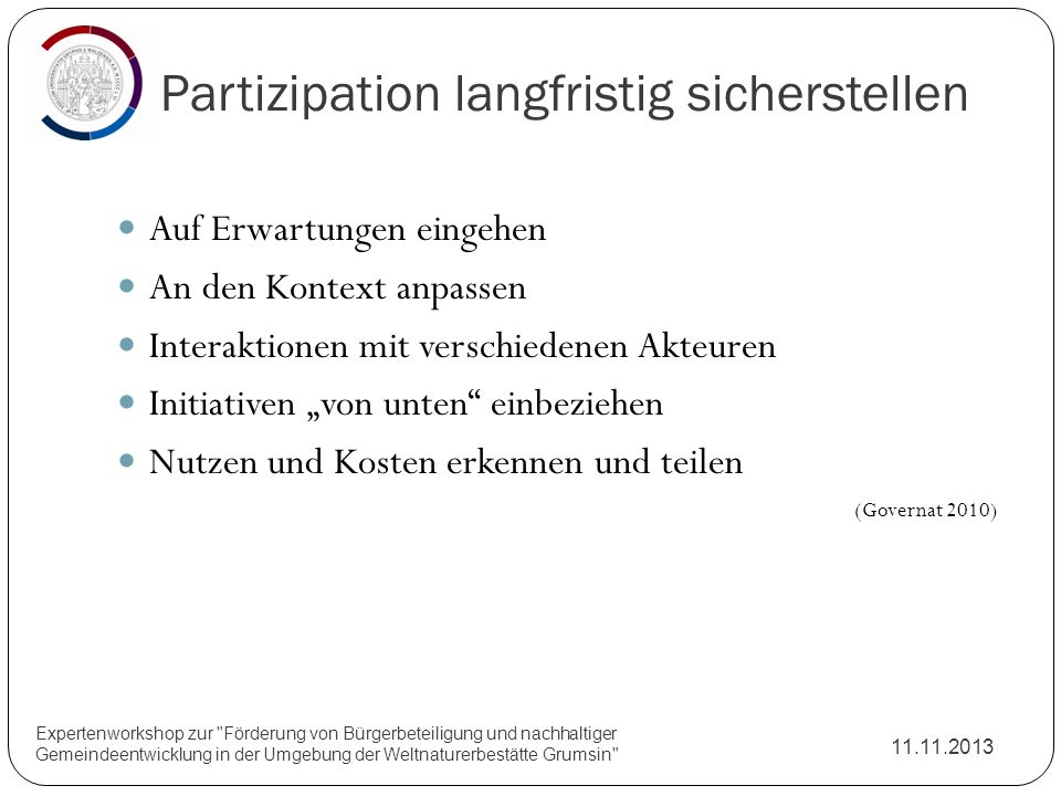 Partizipation langfristig sicherstellen