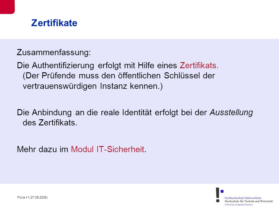 Zertifikate Zusammenfassung: