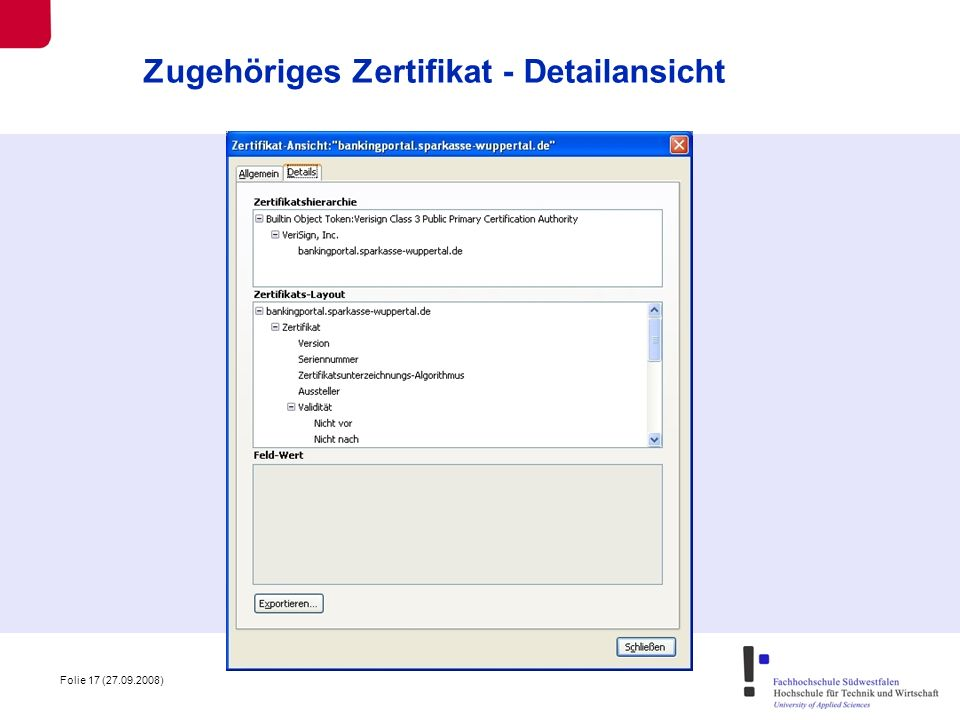 Zugehöriges Zertifikat - Detailansicht