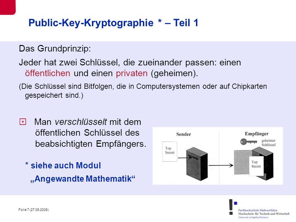Public-Key-Kryptographie * – Teil 1