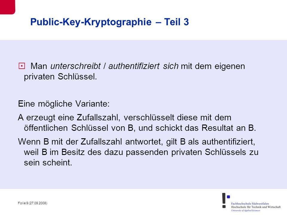 Public-Key-Kryptographie – Teil 3