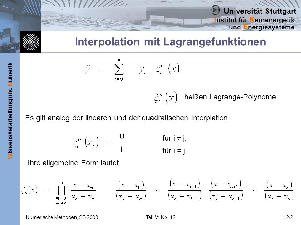 Interpolation mit Lagrangefunktionen
