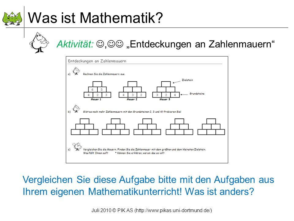 """Was ist Mathematik Aktivität: , """"Entdeckungen an Zahlenmauern"""