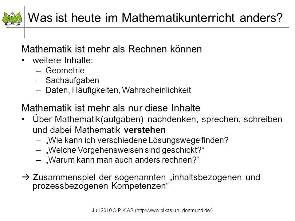 Was ist heute im Mathematikunterricht anders
