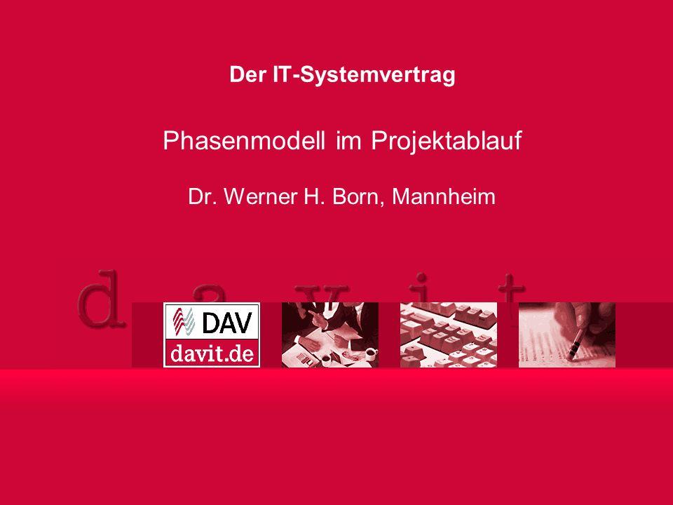 Phasenmodell im Projektablauf Dr. Werner H. Born, Mannheim