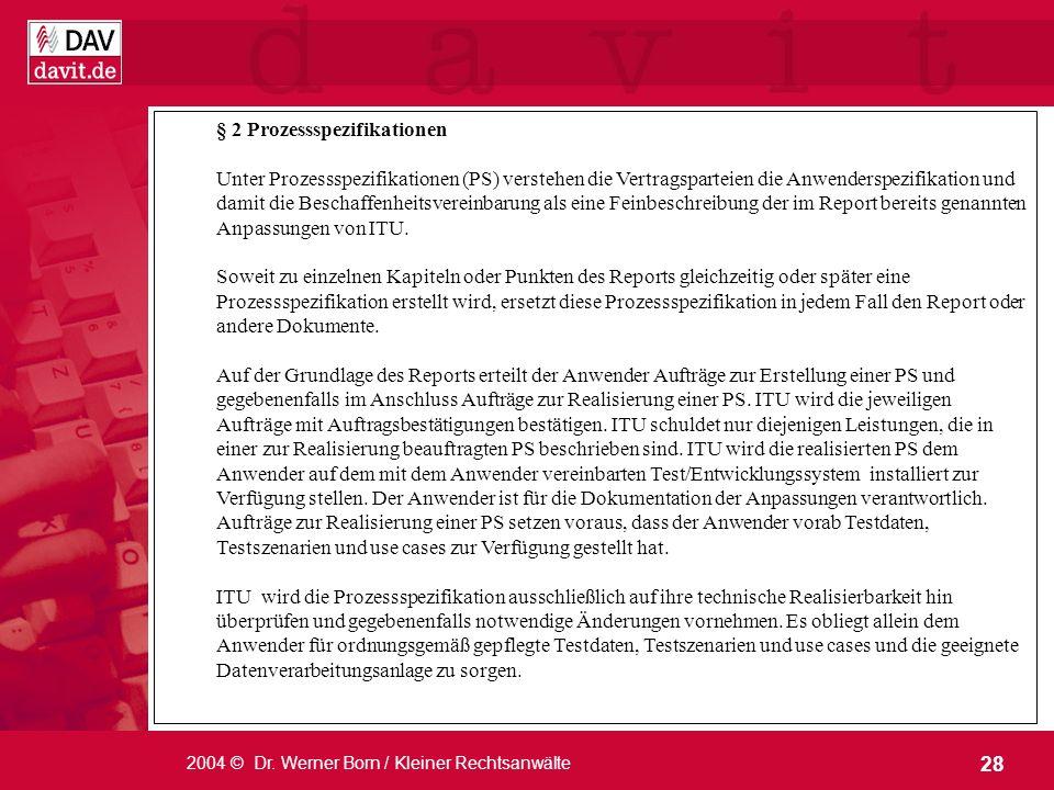 § 2 Prozessspezifikationen