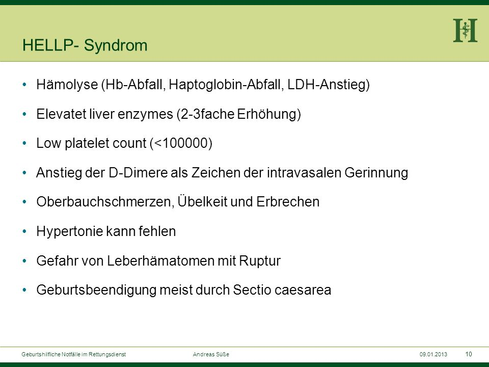 HELLP- Syndrom Hämolyse (Hb-Abfall, Haptoglobin-Abfall, LDH-Anstieg)
