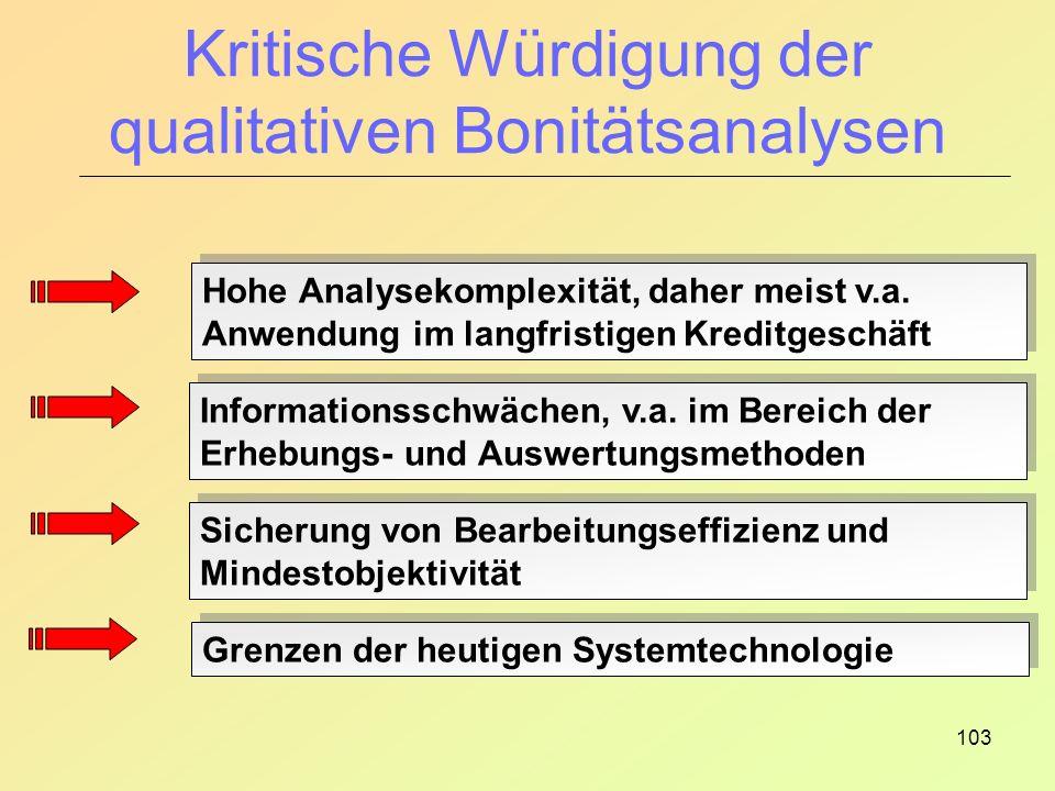Kritische Würdigung der qualitativen Bonitätsanalysen