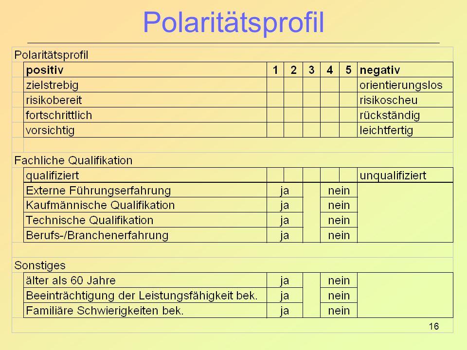 Polaritätsprofil Ziel: Objektivierung der Merkmalsauswertung