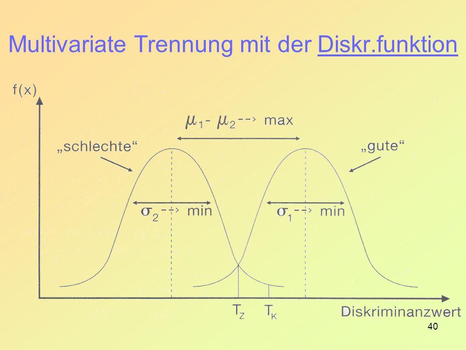 Multivariate Trennung mit der Diskr.funktion