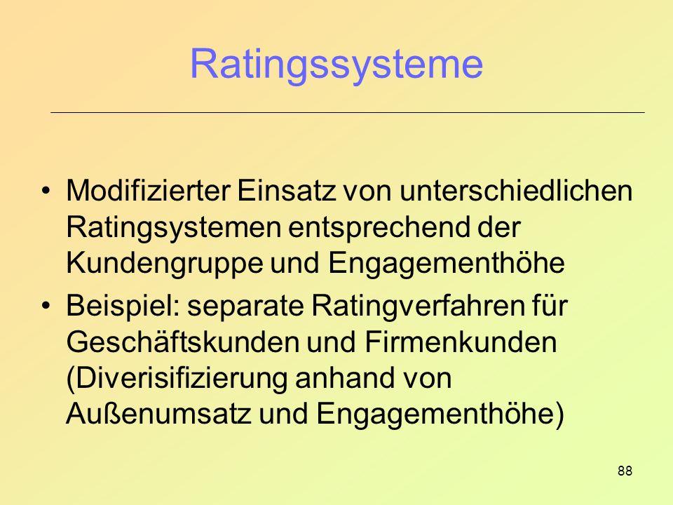Ratingssysteme Modifizierter Einsatz von unterschiedlichen Ratingsystemen entsprechend der Kundengruppe und Engagementhöhe.