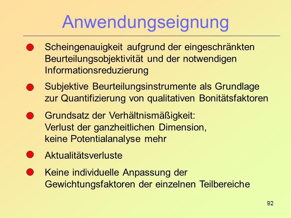 Anwendungseignung Scheingenauigkeit aufgrund der eingeschränkten Beurteilungsobjektivität und der notwendigen Informationsreduzierung.