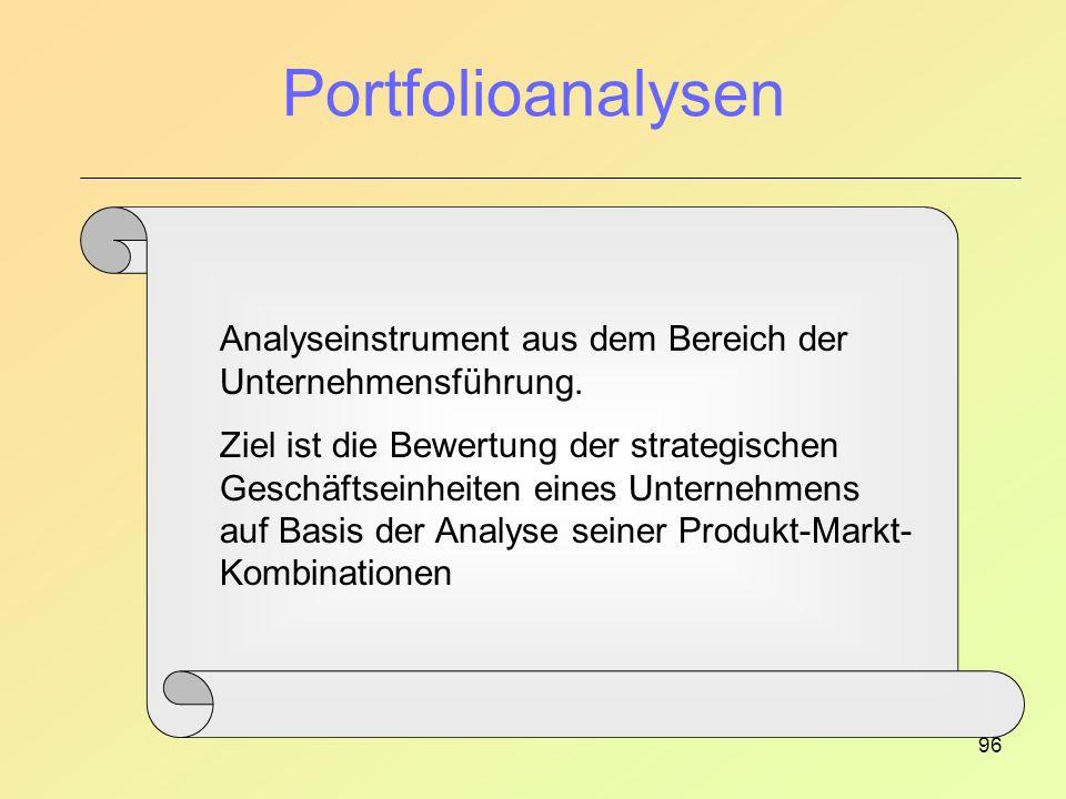Portfolioanalysen Analyseinstrument aus dem Bereich der Unternehmensführung.