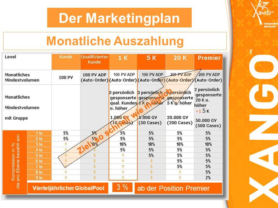 Der Marketingplan Monatliche Auszahlung Ziel: so schnell wie möglich