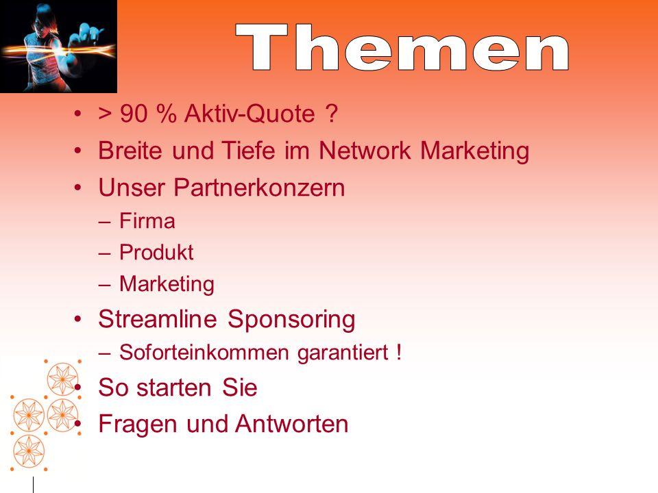 Themen > 90 % Aktiv-Quote Breite und Tiefe im Network Marketing