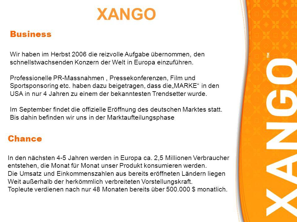 XANGO Business. Wir haben im Herbst 2006 die reizvolle Aufgabe übernommen, den. schnellstwachsenden Konzern der Welt in Europa einzuführen.
