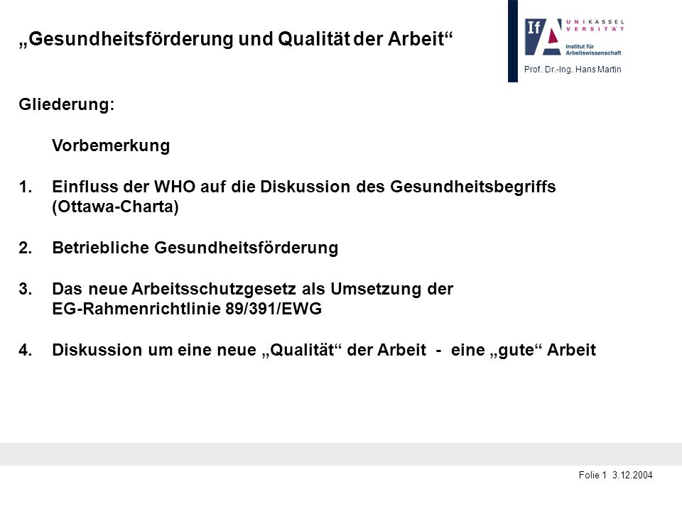 """""""Gesundheitsförderung und Qualität der Arbeit"""