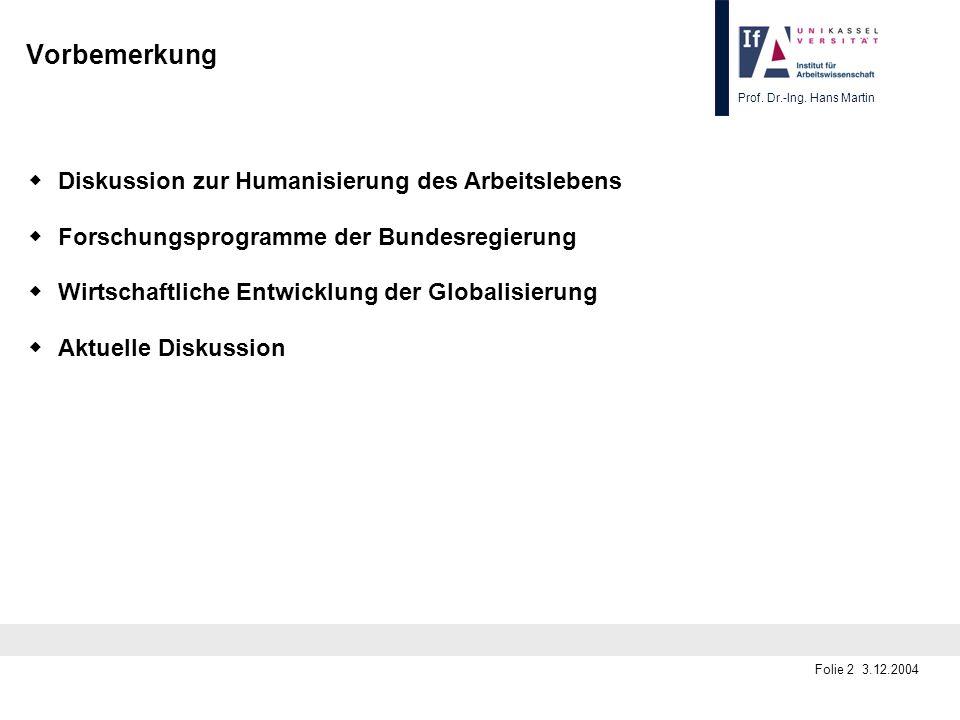 Vorbemerkung w Diskussion zur Humanisierung des Arbeitslebens