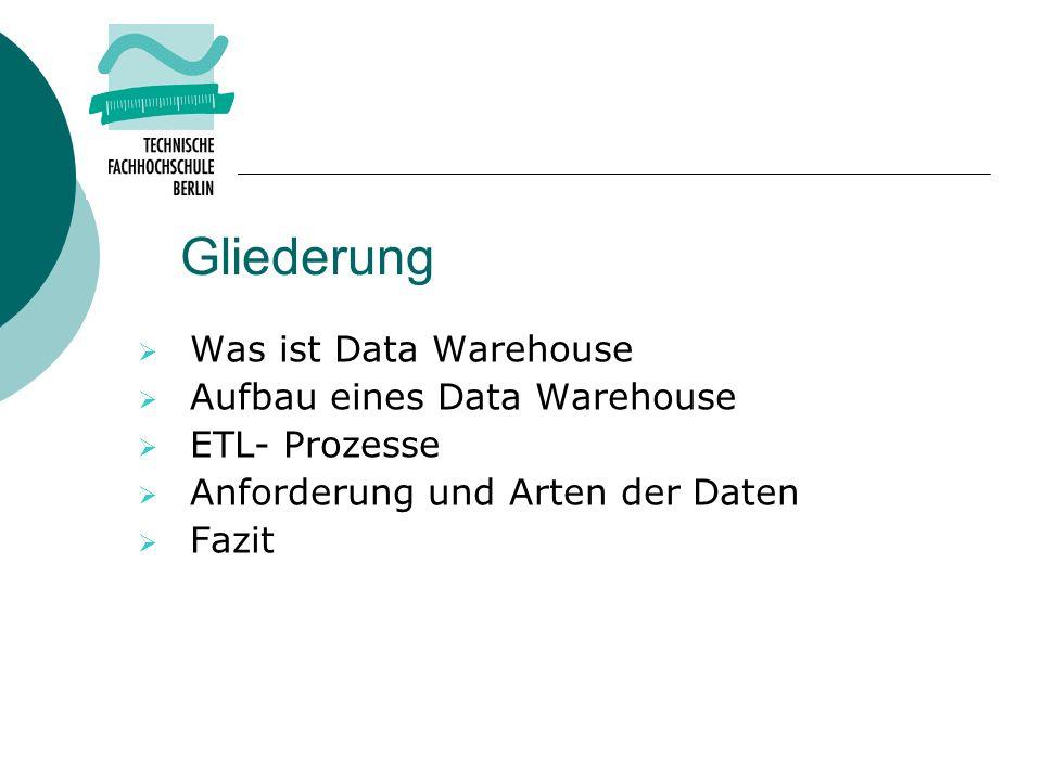 Gliederung Was ist Data Warehouse Aufbau eines Data Warehouse