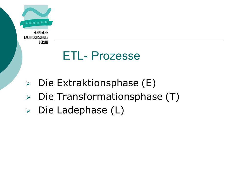 ETL- Prozesse Die Extraktionsphase (E) Die Transformationsphase (T)