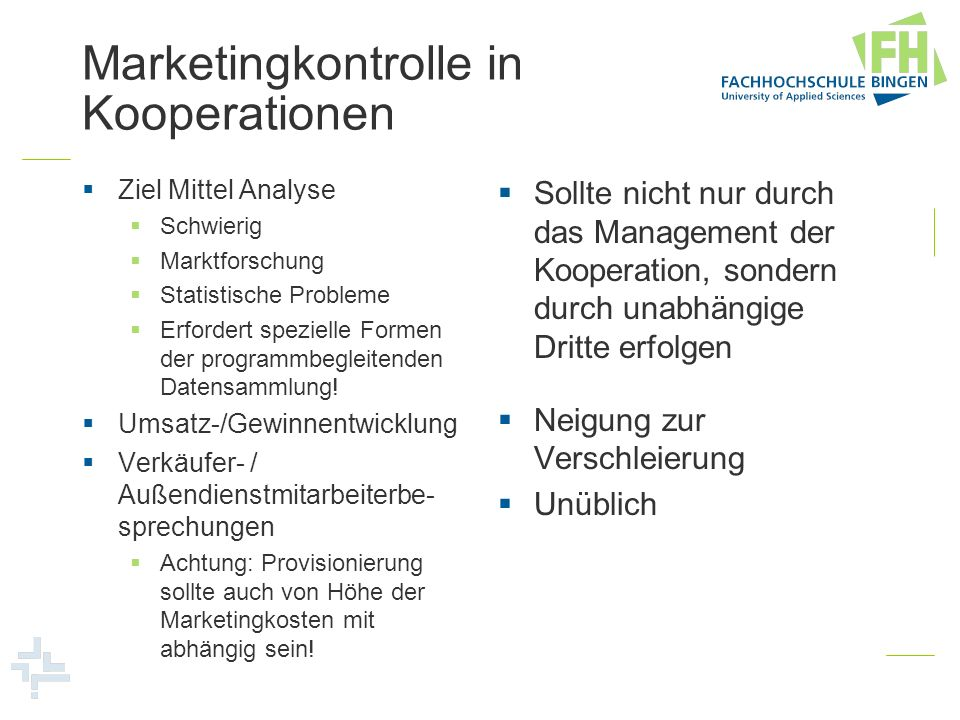 Marketingkontrolle in Kooperationen