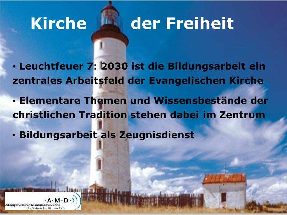 Kirche der Freiheit Leuchtfeuer 7: 2030 ist die Bildungsarbeit ein zentrales Arbeitsfeld der Evangelischen Kirche.