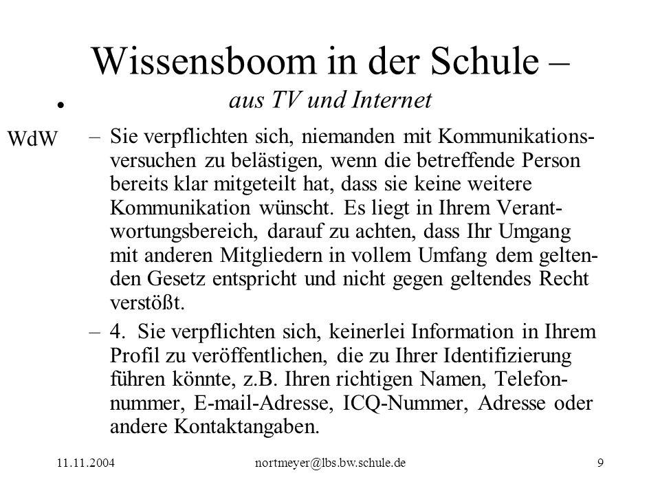 Wissensboom in der Schule – aus TV und Internet