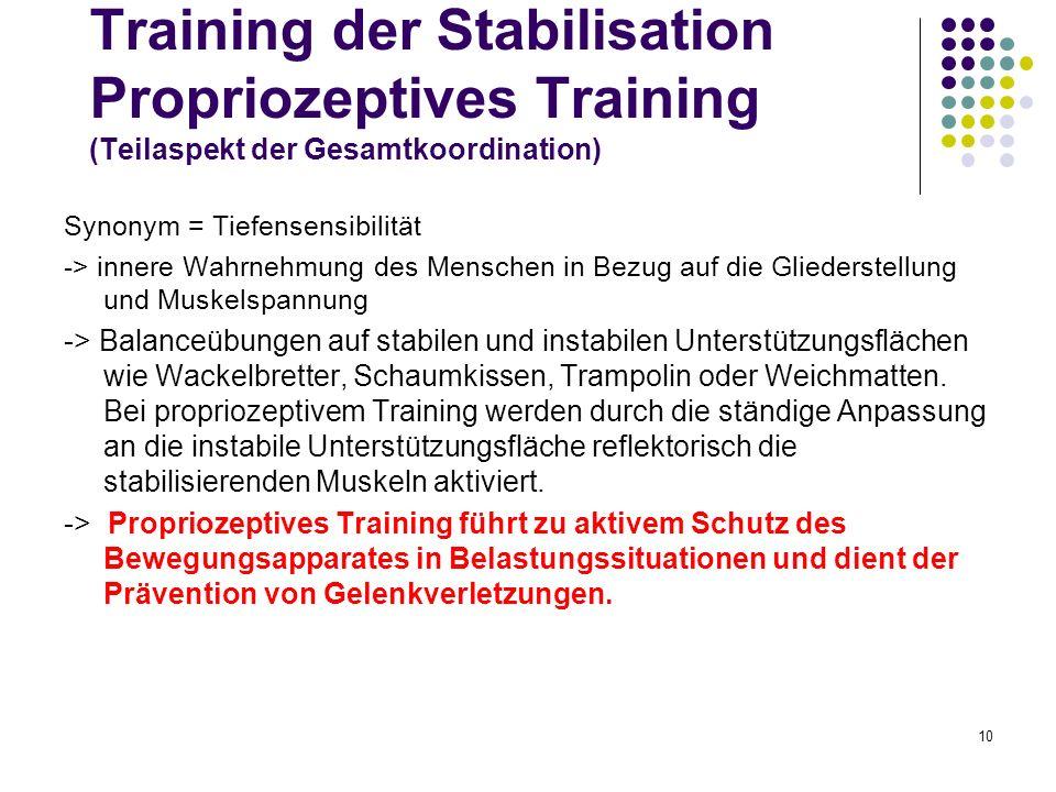Training der Stabilisation Propriozeptives Training (Teilaspekt der Gesamtkoordination)