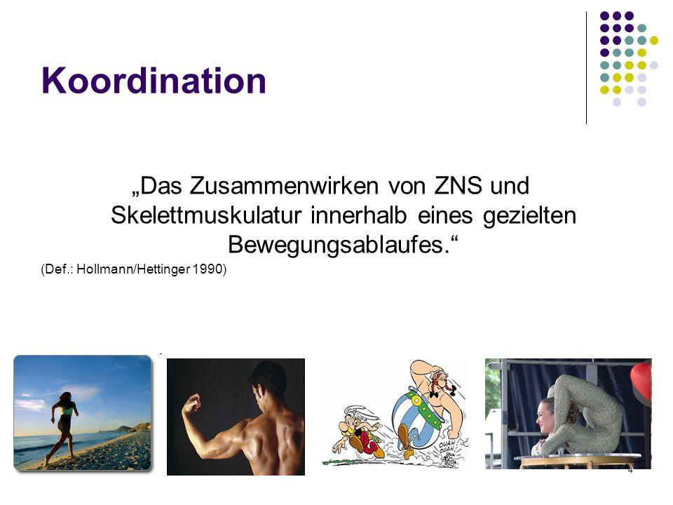 """Koordination """"Das Zusammenwirken von ZNS und Skelettmuskulatur innerhalb eines gezielten Bewegungsablaufes."""