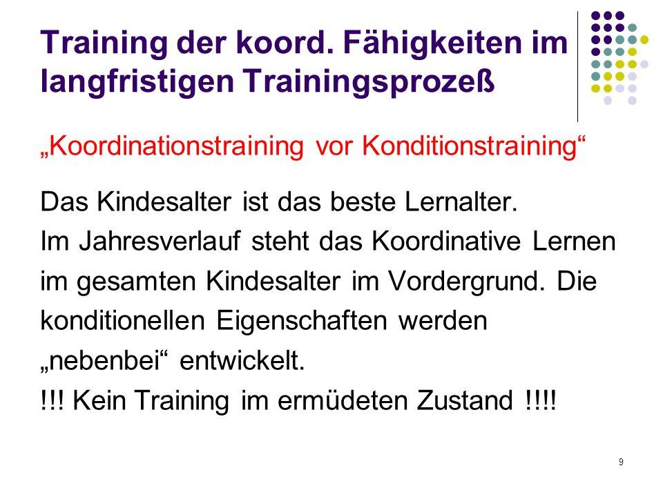 Training der koord. Fähigkeiten im langfristigen Trainingsprozeß