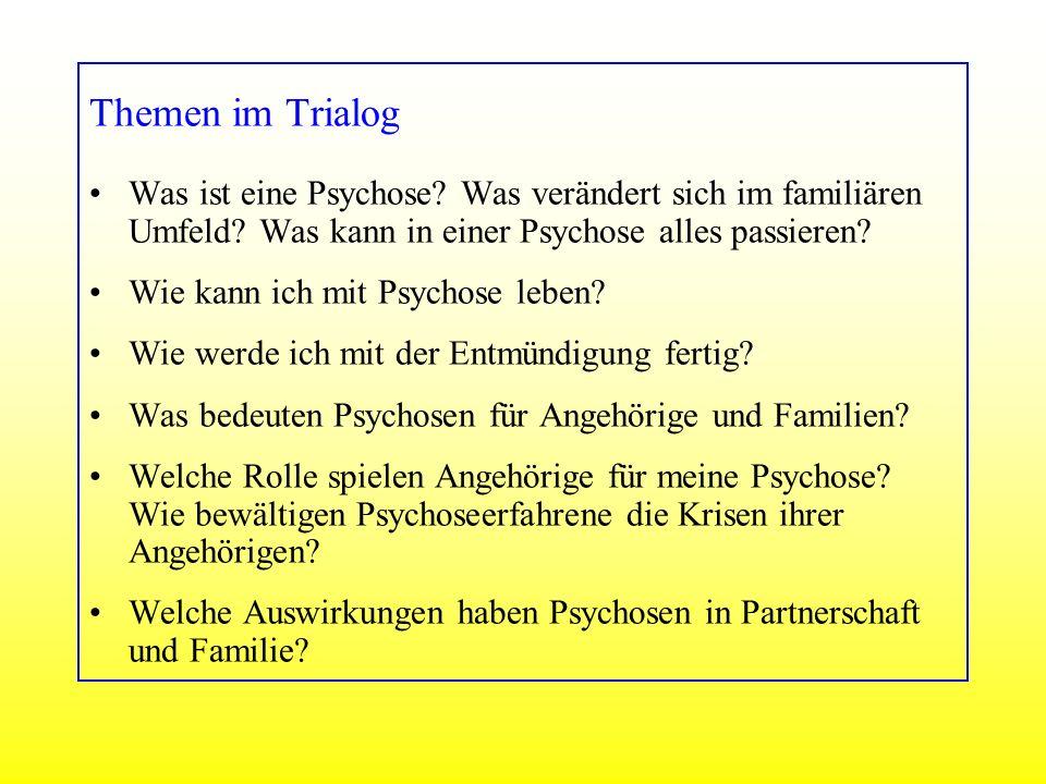 Themen im Trialog Was ist eine Psychose Was verändert sich im familiären Umfeld Was kann in einer Psychose alles passieren