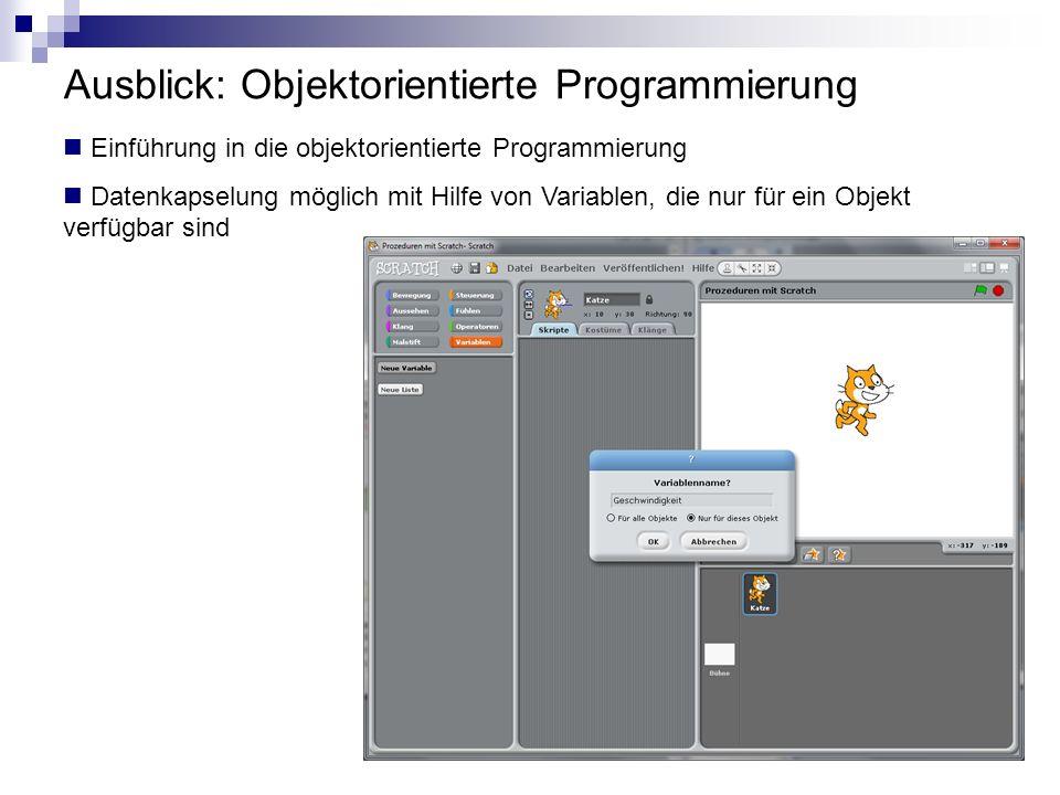 Ausblick: Objektorientierte Programmierung