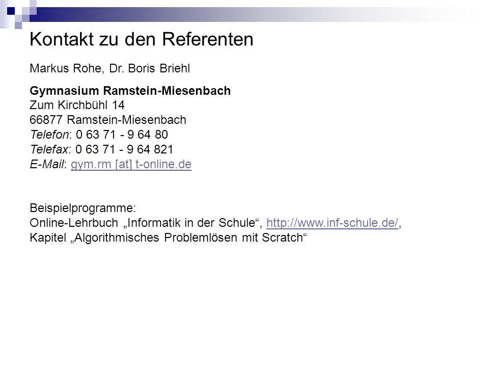 Kontakt zu den Referenten